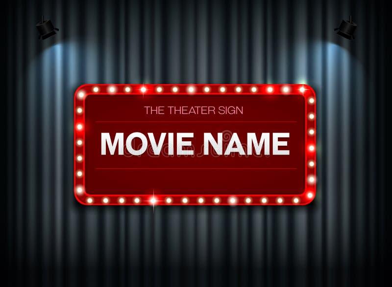 Theaterzeichen auf Vorhang vektor abbildung
