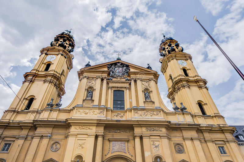 The Theatinerkirche St. Kajetan in Munich, Germany. The Theatine Church of St. Cajetan (Theatinerkirche St. Kajetan), a Catholic church in Munich, founded by royalty free stock image
