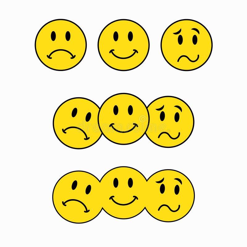 Theatrale maskers, drie smileys, emoticon sticker royalty-vrije illustratie