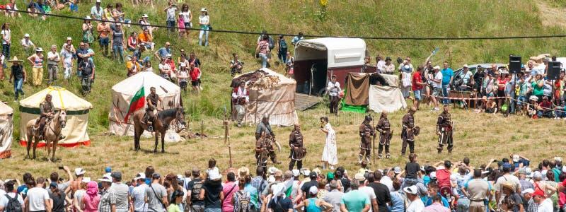Theatrale prestaties bij het Festival van Rozhen 2015 in Bulgarije stock foto's