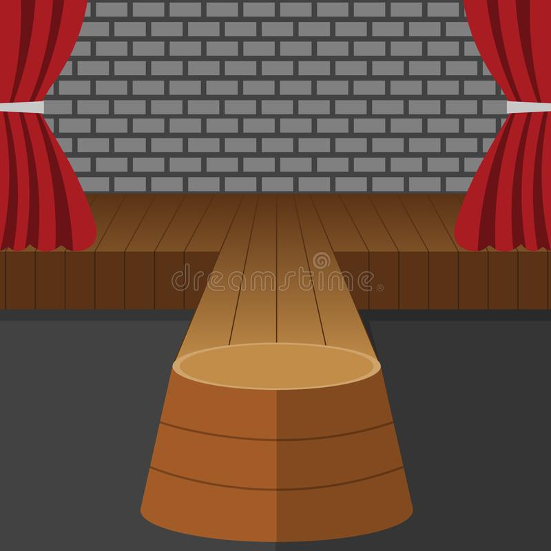 Theatrale Sc?nevector Prestaties Stadiumpodium De rode Gordijnen van het Fluweel De gebeurtenis toont Houten Vloer Vlakke beeldve stock illustratie