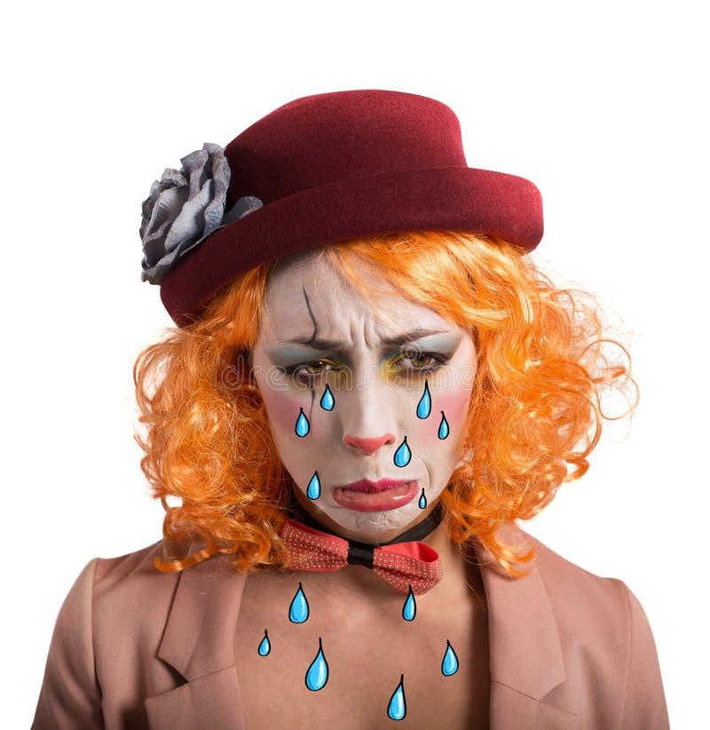 Theatralischer trauriger Clown stockfoto