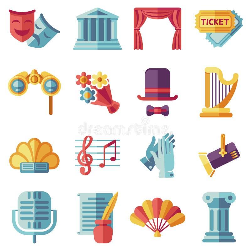 Theatre acting performance flat icons set. Drama performance theater, comedy performance theater, curtain and mask, tragedy performance theater. Vector royalty free illustration
