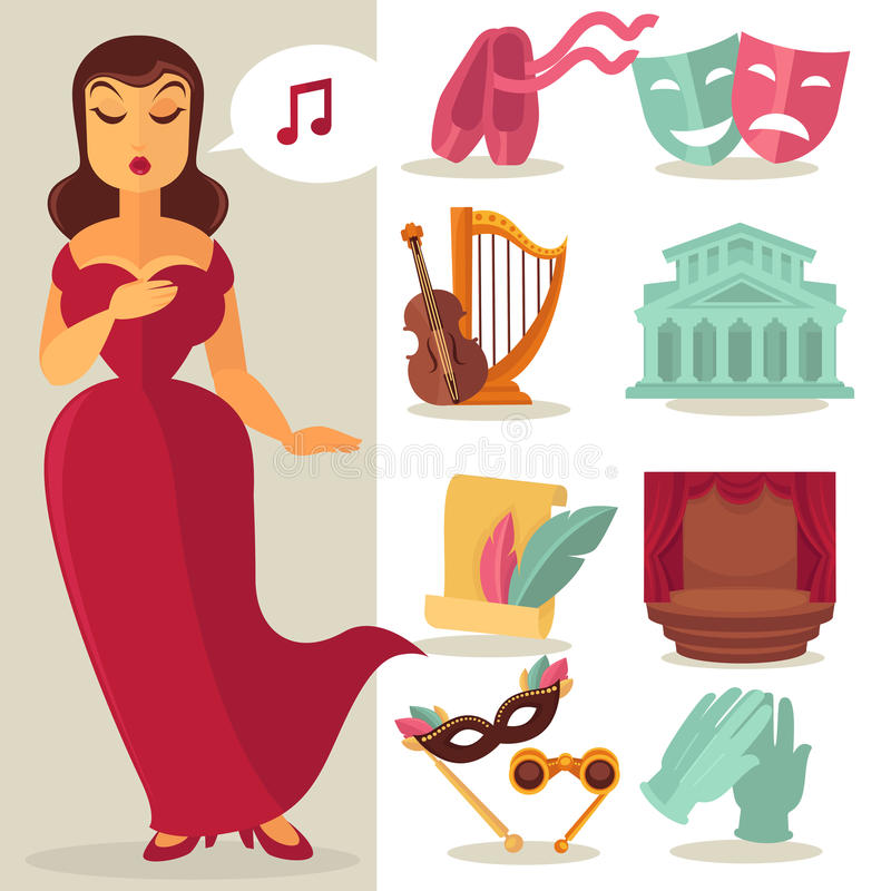 Theatre acting performance icons set. With singing actress. Vector Illustration stock illustration