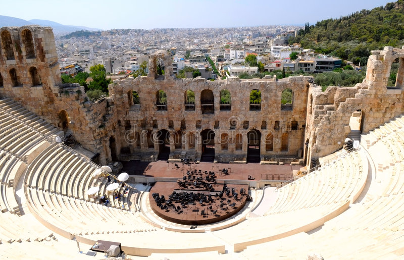 Theatre in Athens, Greece royalty free stock photos