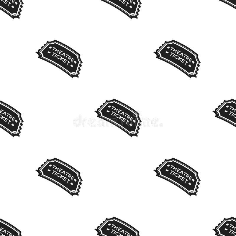 Theatre bileta ikona w czerń stylu odizolowywającym na białym tle Teatru wzoru zapasu wektoru ilustracja ilustracja wektor