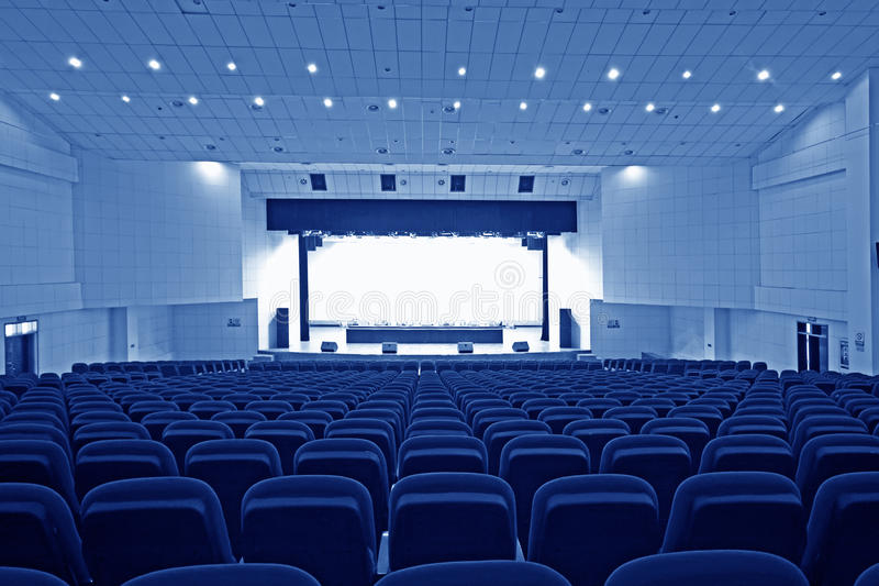 Theatre chairs and stage. Chairs and stage in a theatre in china stock photo