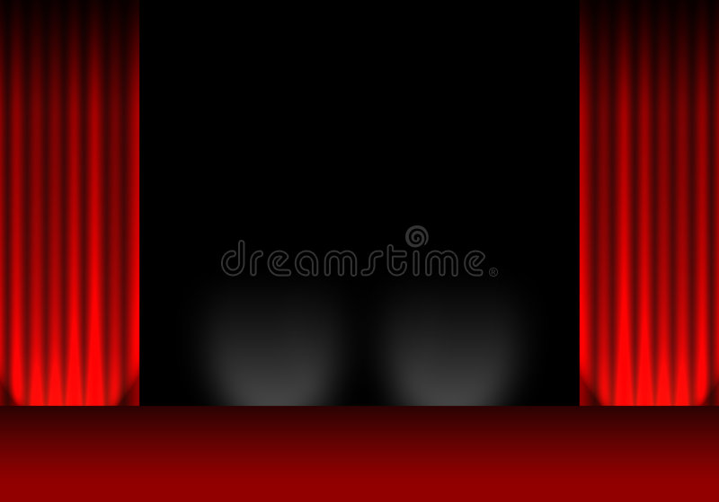 Theatre / cinema curtains. Cinema / theatre stage and curtains / drapes stock illustration