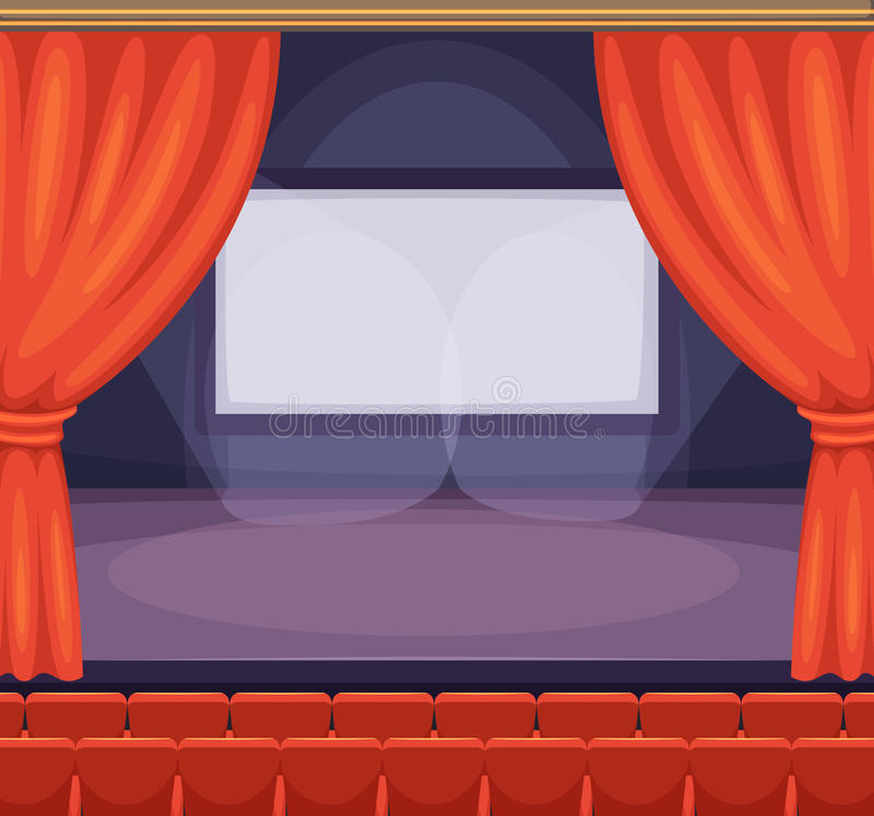 Theatre or cinema stage with red curtains. Vector background in cartoon style vector illustration