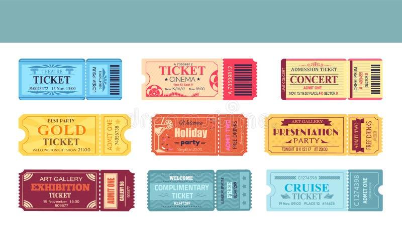 Theatre and cinema tickets set vector illustration vector illustration
