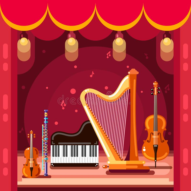 Theatre and classical music concert stage, vector flat illustration. Music instruments on scene podium stock illustration
