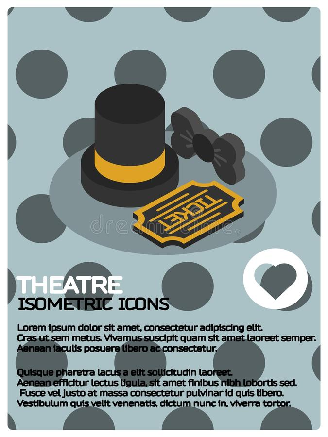 Theatre color isometric poster royalty free illustration