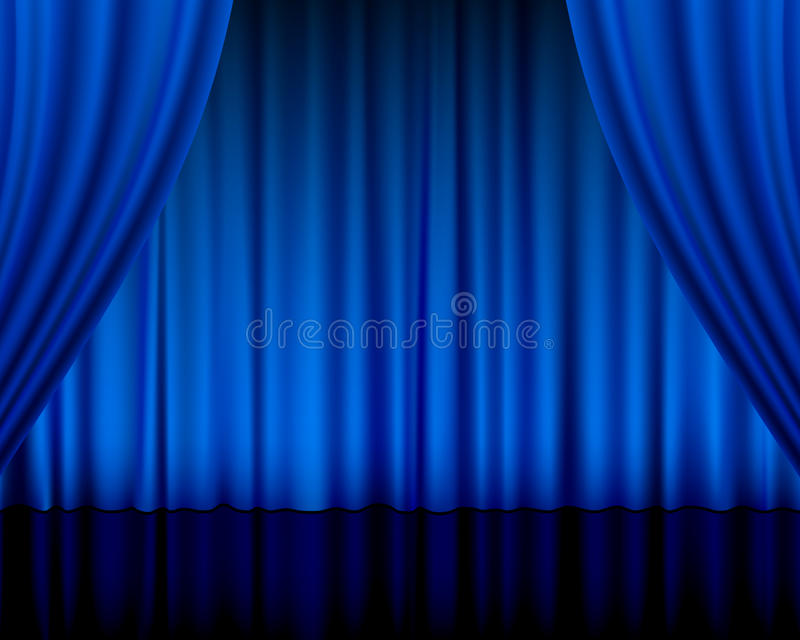 Download Theatre curtain blue stock vector. Image of textile, blue - 24038385