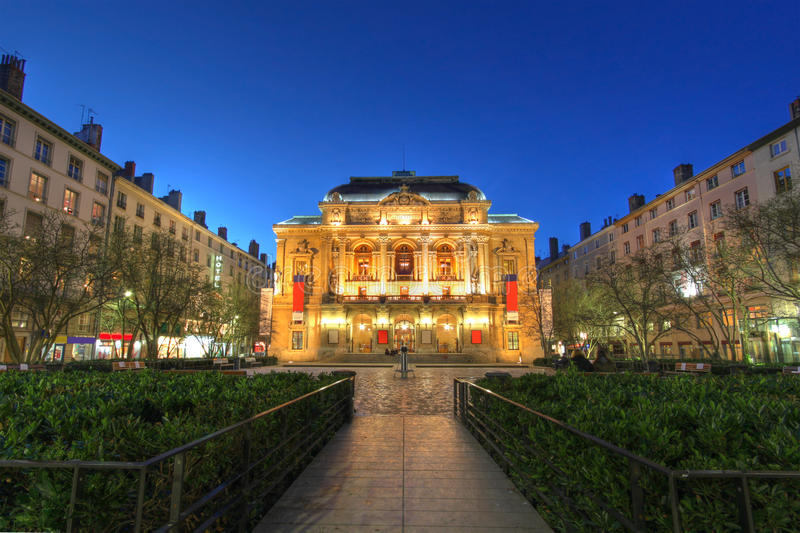 Theatre des Celestins, Lyon, France. Wide angle composition of Theatre des Celestins in the square bearing the same name in central Lyon, France taken at stock image