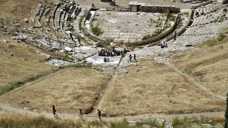 The Theatre of Dionysos at the Acropolis, Athens, Greece. Open-air Theatre of Dionysos Eleuthereus on the South slope of the Acropolis stock photo