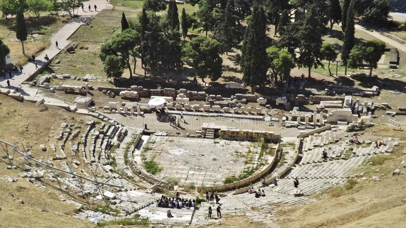 The Theatre of Dionysos at the Acropolis, Athens, Greece. Open-air Theatre of Dionysos Eleuthereus on the South slope of the Acropolis royalty free stock photo
