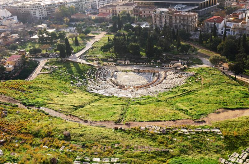 Theatre of Dionysus - view from Acropolis Hill of Athens, Greece stock photo
