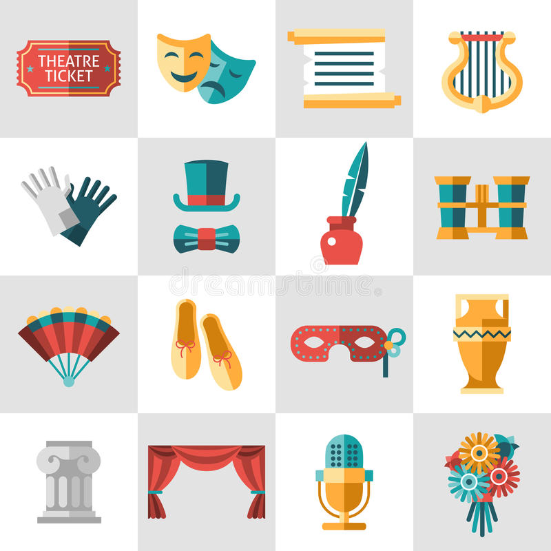 Theatre icon flat. Theatre acting performance icons set with ticket masks flat isolated vector illustration royalty free illustration