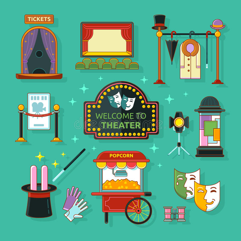 Theatre icon. S set with scene, light, ticket office, checkroom, signboard isolated vector illustration. Concept theatre art stock illustration