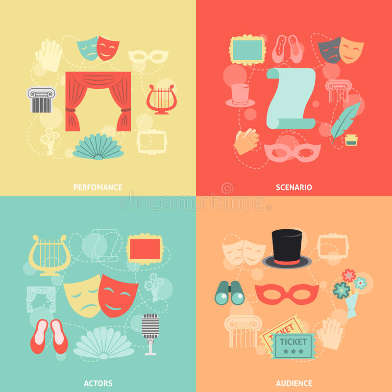 Theatre Icons Flat stock vector. Image of applause, play ...