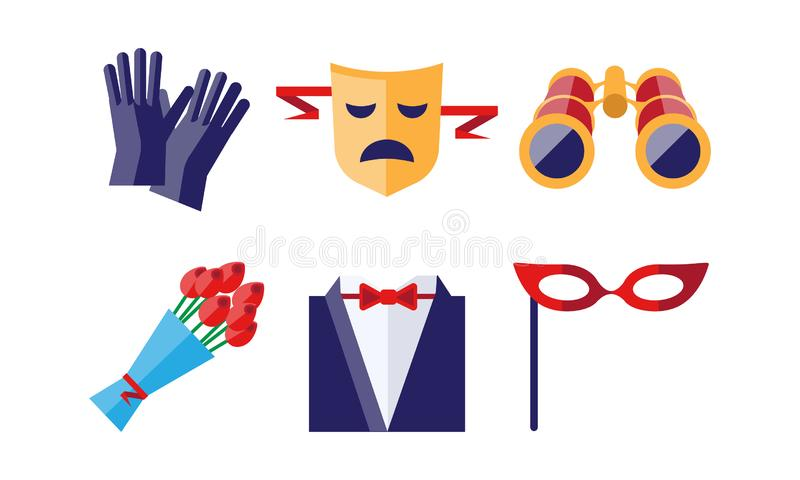 Theatre icons set, gloves, tragedy mask, bouquet of flowers, binoculars, dress coat, theatrical mask, theatrical. Premiere elements vector Illustration isolated royalty free illustration