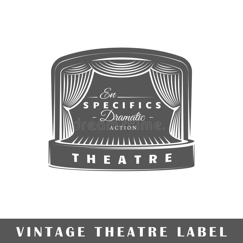Theatre label template. Theatre label isolated on white background. Design element. Template for logo, signage, branding design. Vector illustration vector illustration