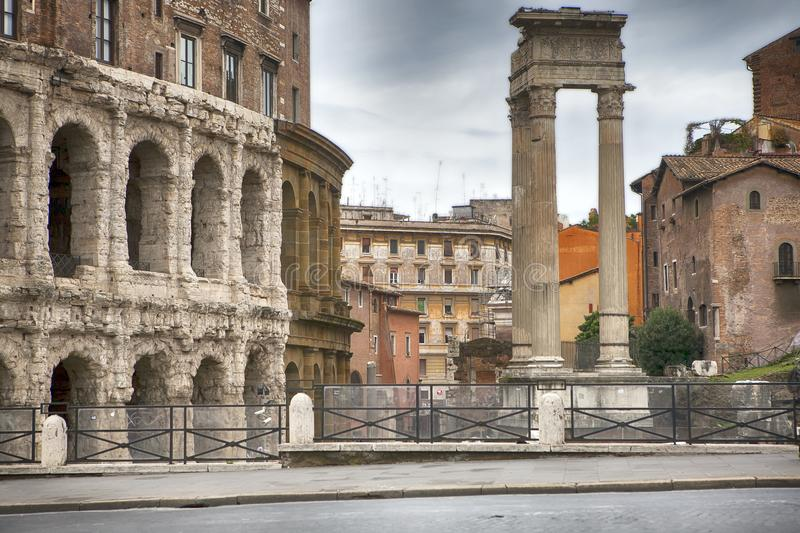 Theatre of Marcellus and Temple of Apollo Sosianus in Rome - Italy royalty free stock image