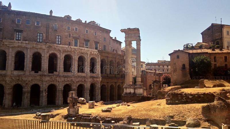 Theatre of Marcellus and Temple of Appolo Medicus Sosianus stock images