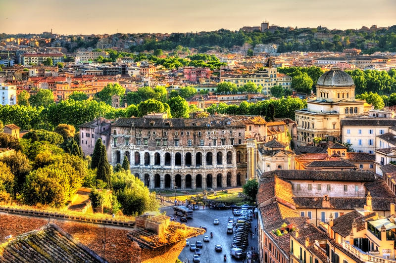 Theatre Marcellus, view from Capitoline Hill royalty free stock images
