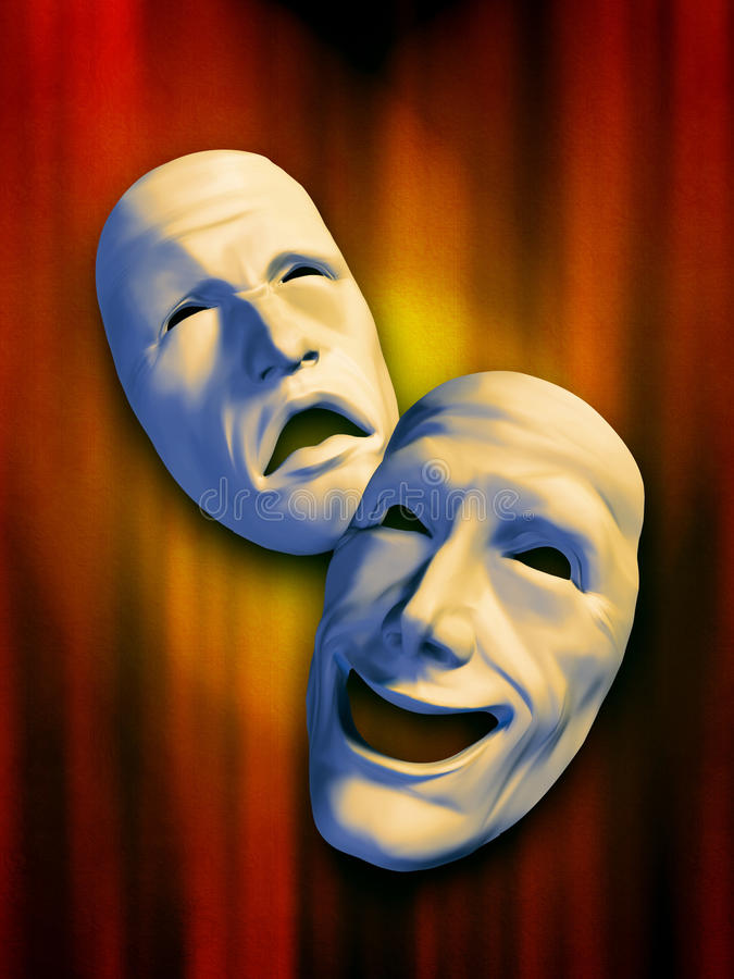 Download Theatre masks stock illustration. Image of entertainment - 9697940