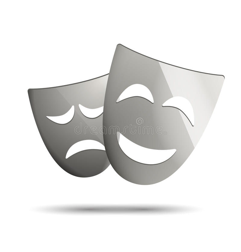 Theatre masks of drama and comedy. Icon on white stock illustration