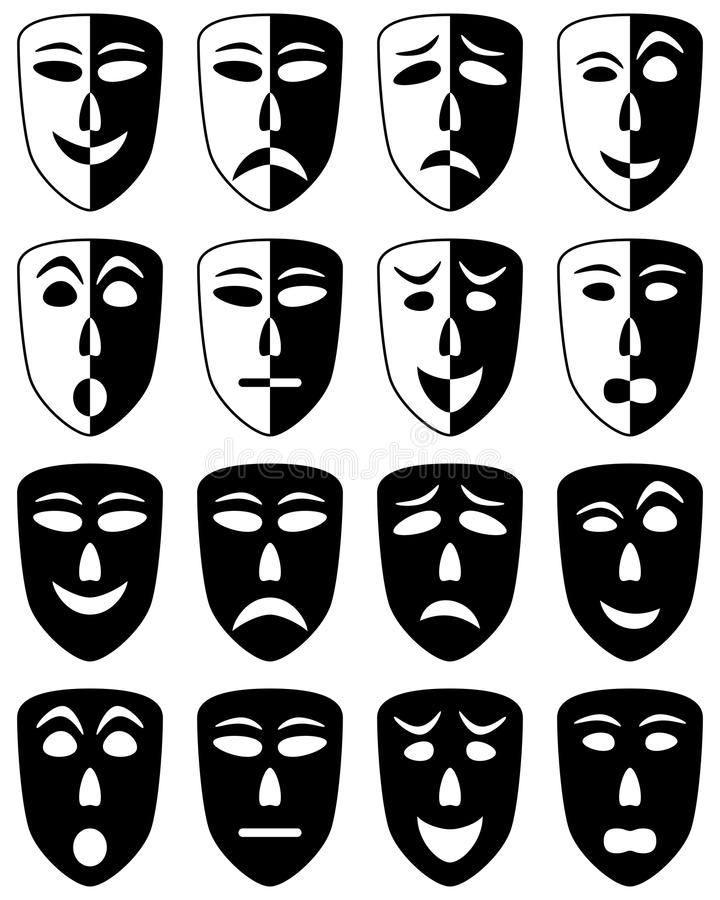 Download Theatre Masks Set stock vector. Image of emotion, scene - 27361320