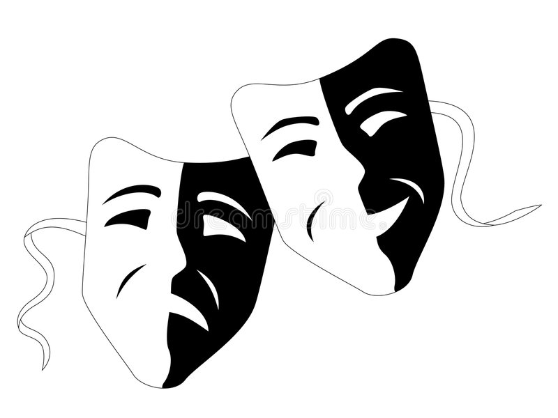 Theatre masks (Tragedy comedy) stock illustration