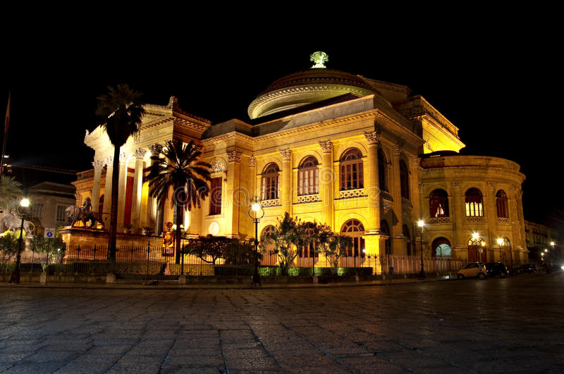 Theatre Massimo By Night Royalty Free Stock Photos
