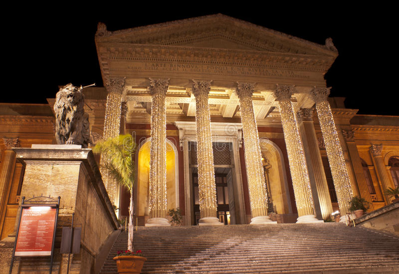 Download Theatre Massimo by night stock image. Image of historical - 23385369