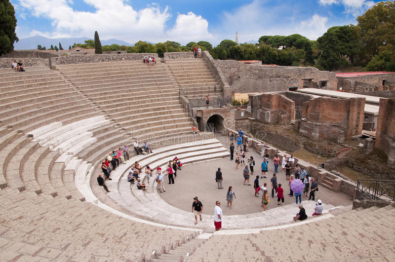 The Theatre in Pompeii. Theatre in the once buried city of Pompeii in Italy stock images