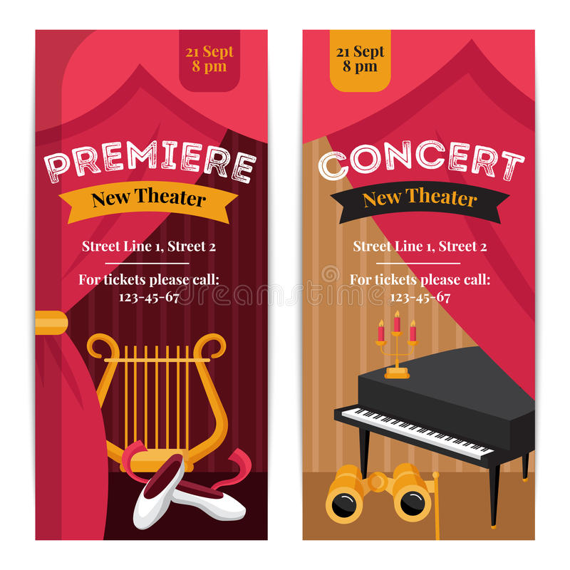 Theatre Poster Banners Set vector illustration