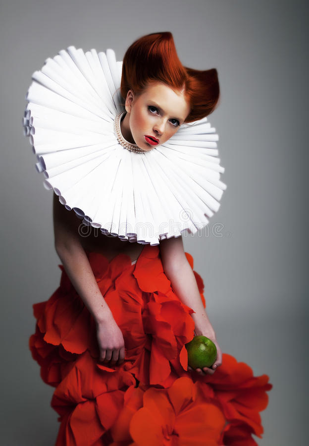 Theatre - pretty hedhead girl in jabot posing stock images