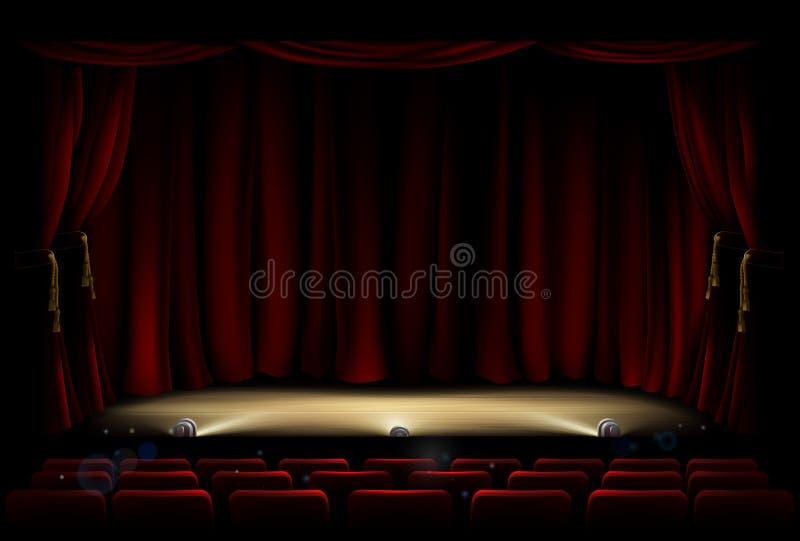 Theatre scena z teatr zasłonami ilustracji