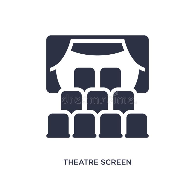 Theatre screen icon on white background. Simple element illustration from cinema concept. Theatre screen icon. Simple element illustration from cinema concept stock illustration