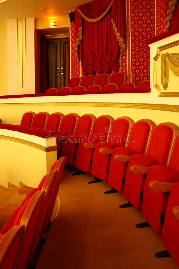 Theatre seats. Photograph of the Rows of theatre seats stock photo