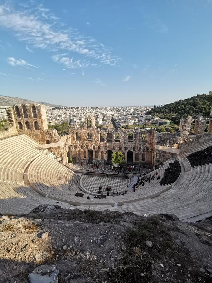 Theatre stage at Acropolis Athens stock image