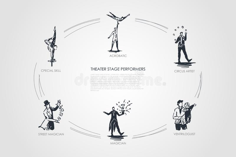 Theatre stage performance - acrobatic, circus artist, ventriloguist, magician, street magician, special skill vector concept set stock illustration
