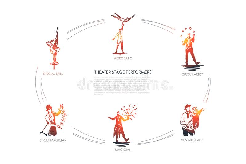 Theatre stage performance - acrobatic, circus artist, ventriloguist, magician, street magician, special skill vector concept set royalty free illustration