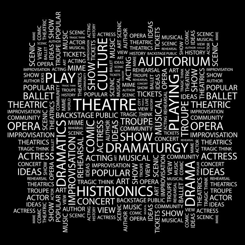 THEATRE. Word cloud concept illustration. Wordcloud collage royalty free illustration