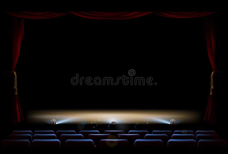 Theatre zasłony i scena ilustracja wektor