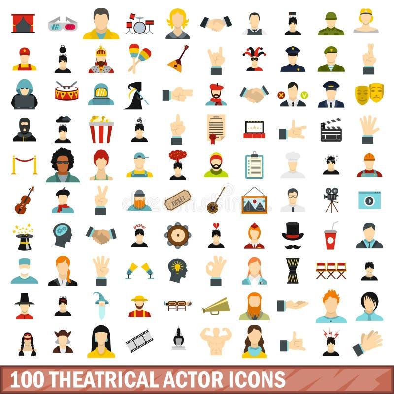 100 theatrical actor icons set, flat style. 100 theatrical actor icons set in flat style for any design vector illustration stock illustration