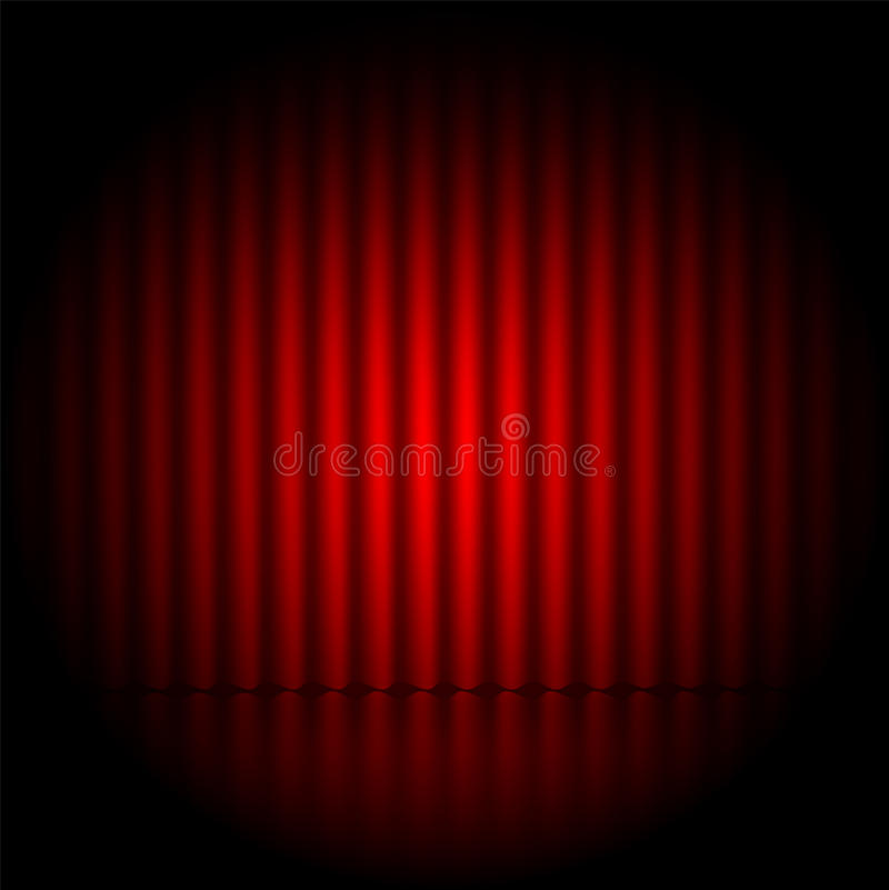 Theatrical background. Scene and red curtains.scene illuminated floodlight vector illustration