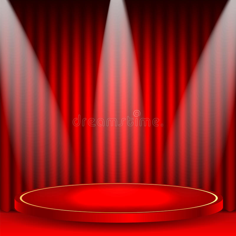 Theatrical background. Scene and red curtains.scene illuminated floodlights.red podium on a background of red drape curtains vector illustration