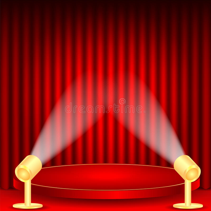 Theatrical background. Scene and red curtains.scene illuminated floodlights.red podium on a background of red drape curtains stock illustration